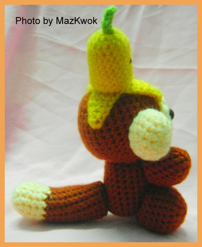 вязание крючком обезьянка с бананом