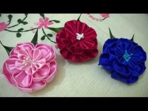 канзаши цветы из атласных лент мастер-класс для начинающих