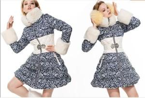 2016-French-Brand-CLJWomen-Rabbit-Fur-Colar-Down-Parkas-Women-Winter-Skirt-Style-White-Duck-Down