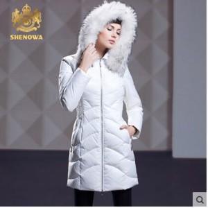 2016-SHENOWA-Europe-Women-White-Duck-Down-Raccoon-Fur-Hooded-Down-Parkas-Down-Jacket-Thick-Russia
