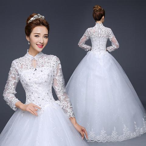 2016-spring-Korean-plus-size-long-sleeve-white-lace-wedding-dress-trajes-de-novia-abito-da