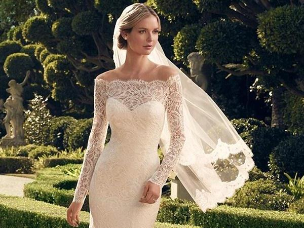 spring wedding gown + spring 2016 wedding dress trends +lace wedding gown Sheath Column Off-the-Shoulder Long Sleeves Lace Court Train Wedding Dresses
