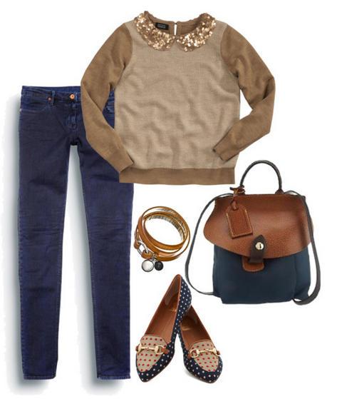 сочетание лоферов с джинсами