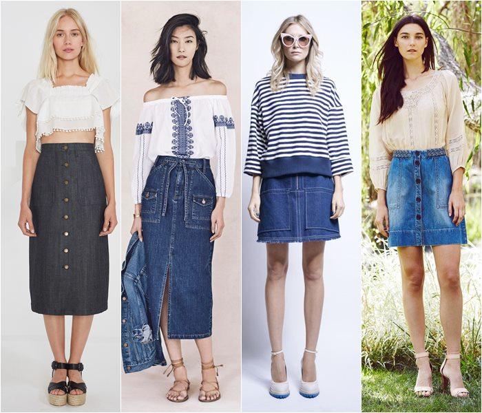 модные джинсовые юбки 2016 женские фото