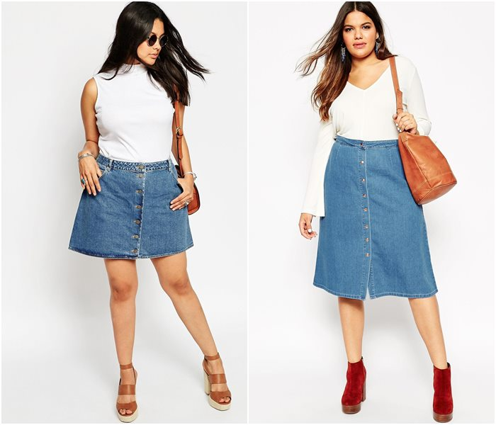 джинсовые юбки для полных 2016 женские фото