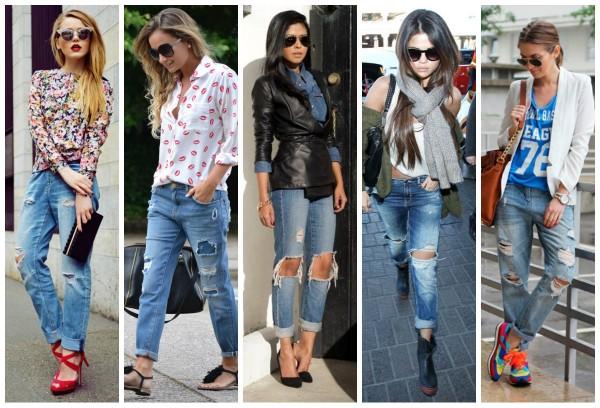 Модные рваные джинсы 2016