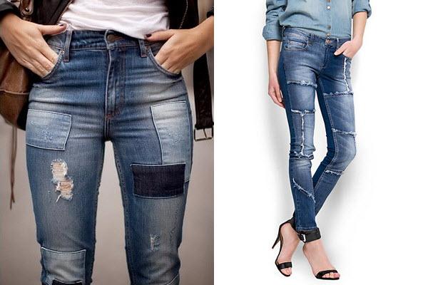 Модные джинсы пэчворк
