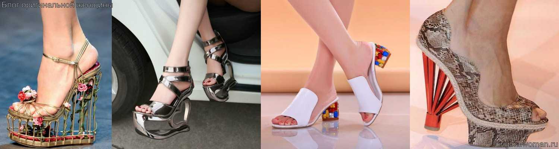 Оригинальные каблуки на летних босоножках