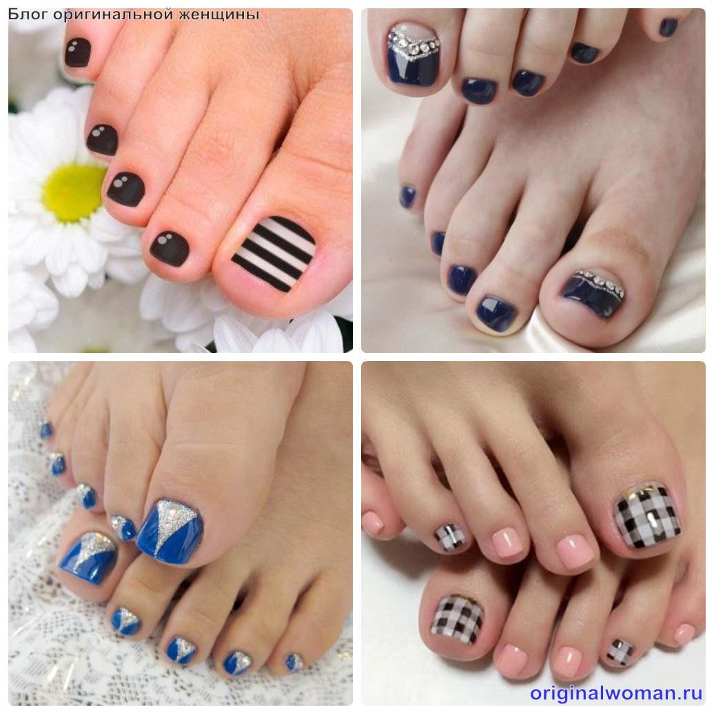 оформление ногтей на ногах геометрическими фигурами и полосками