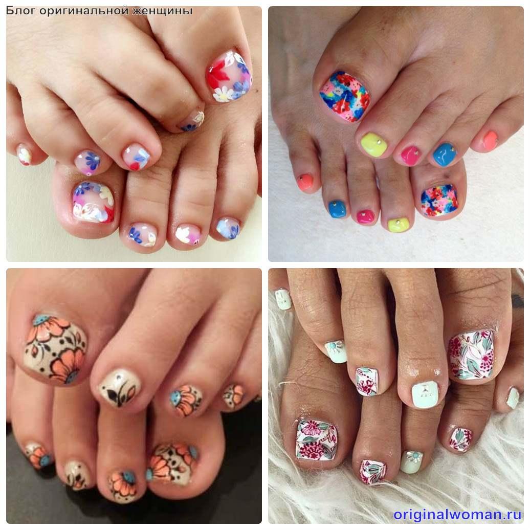 оформление ногтей на ногах цветочками