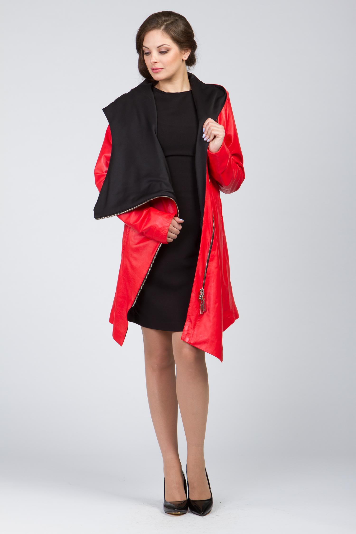 Кожаное пальто ассиметрия