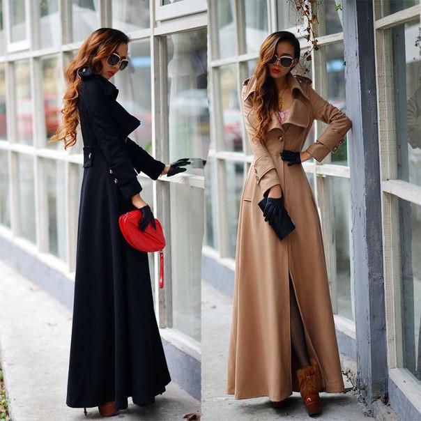 Пальто в пол бежевое и черное