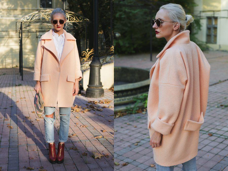 Пальто-кокон нежно-розовое
