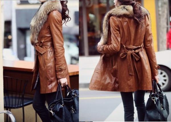 Кожаное пальто коричневое