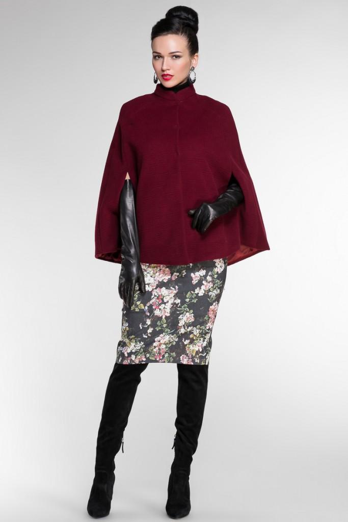 Женское пальто Кейп бардовое
