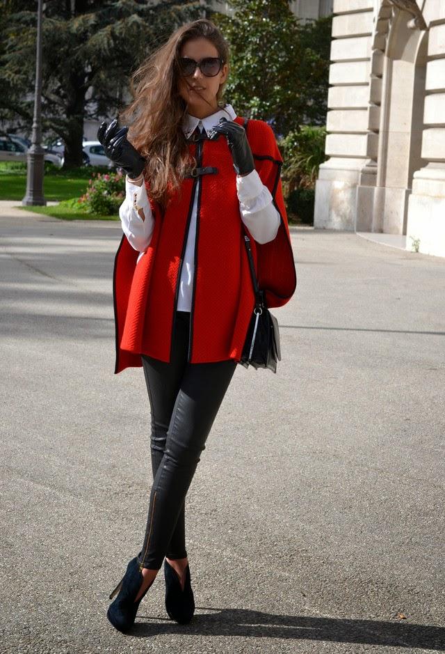 Женское пальто Кейп красное