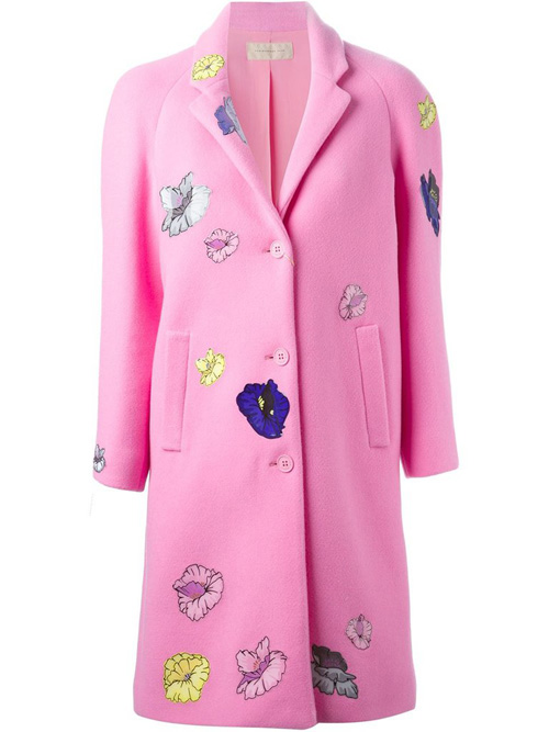 Пальто розовое, с бабочками
