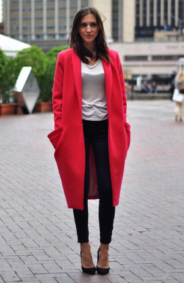 Пальто Оверсайз ярко-красное