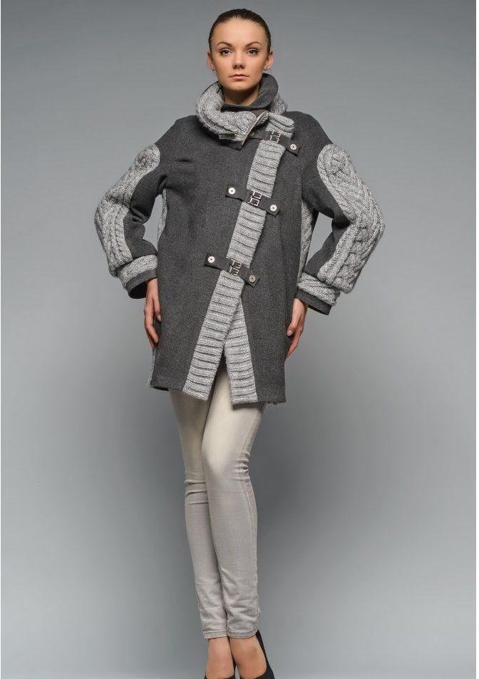 Пальто ассиметрия с красивой фурнитурой
