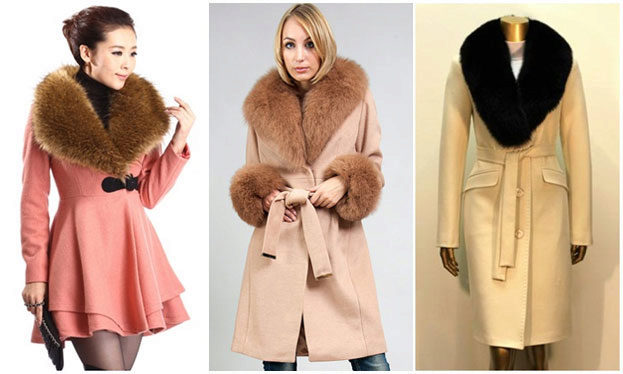 Пальто с мехом разных расцветок