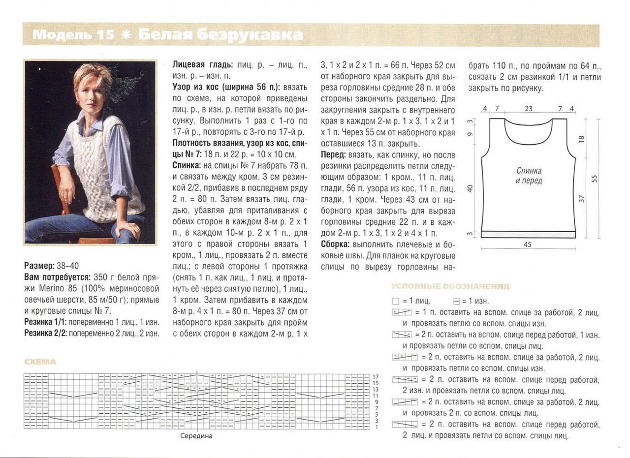 47 красивых жилетов и безрукавок для женщин вязаных спицами со схемами и описаниями