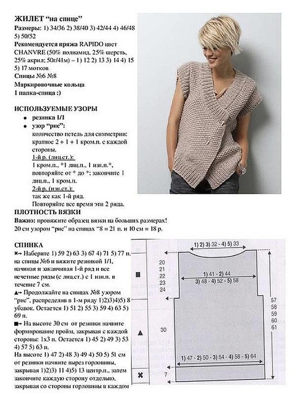 вязанные жилеты женские спицами фото и схемы цвет